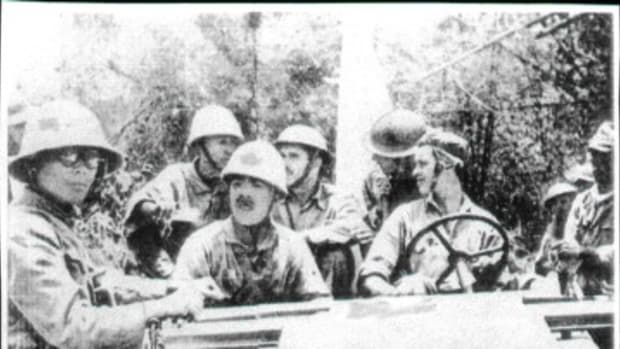 Soldiers from the 192nd Tank Bn. are seated together with Japanese prisoners in a Bantam 40 BRC in this April 9, 1942, photos. D. Dizon