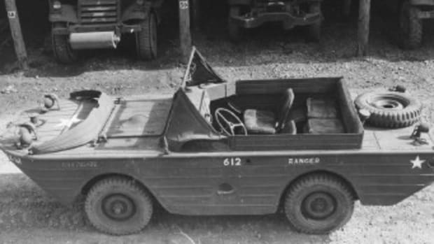"""The Jeep--the seemingly universal conveyance of the GI--was a natural for adaptation to an amphibian. Famed yacht designer Roderick Stephens, working with Marmon-Herrington, refined the concept. It was then mass produced by Ford as the """"GPA."""""""