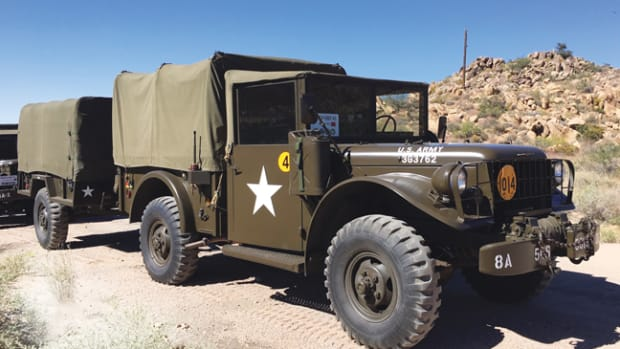 After two convoys in a WWII Jeep, Gil saw the appeal of closed-cab M37. He finally found one and drove it in the Route 66 Convoy. This was his setup, photographed somewhere in New Mexico