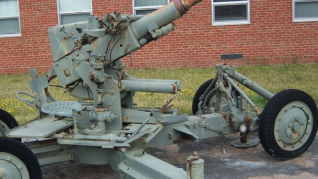The 40mm Bofors at its original site at the Portsmouth Readiness Center.
