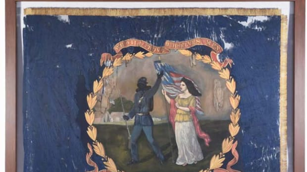 1864 battle flag carried by the '127th Regiment U.S. Colored Troops,' hand-painted by African-American artist and Union troop David Bustill Bowser (1820-1890). Only surviving flag of those Bowser created for the 11 Pennsylvania Black regiments. Sold for $196,800 - Image Morphy Auctions
