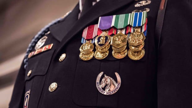 Soldiers assigned to The Caisson Platoon, 1st Battalion, 3d U.S. Infantry Regiment (The Old Guard) were awarded, for the first time in military history, The Military Horseman Identification Badge, during a ceremony in Conmy Hall, Joint Base Myer-Henderson Hall, Va., Sept. 29, 2017. Requirements for the badge include the completion of 100 Armed Forces Full Honors Funeral at Arlington National Cemetery, the Basic Horsemanship Course, serve honorable for a minimum of 9 months at The Caisson Platoon and be recommended by the Commander of 1st Battalion, 3d U.S. Infantry Regiment (The Old Guard).