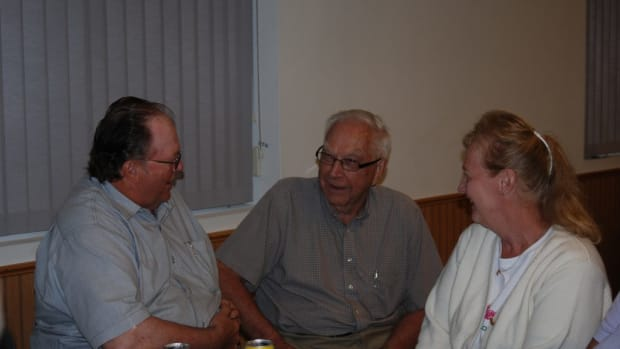 """Chet """"holding court"""" during the 2013 Iola Military Vehicle Show"""