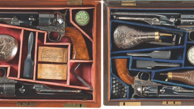 Incredible Well-Documented Presentation Double Cased Set of Four Colt Percussion Revolvers Inscribed from Samuel Colt to Brigadier General Andrew Porter with Letter from Colt