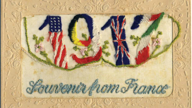"Becoming popular in the late 19th century, decorated silk objects were popular with soldiers want to send something home that would cast a ""softer"" side to the realities of military life."
