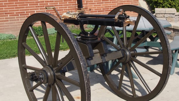 A replica 19th century Gatling Gun guarded the entrance of the DuPage County Fairgrounds for the Chicagoland's National Civil War & Military Extravaganza.