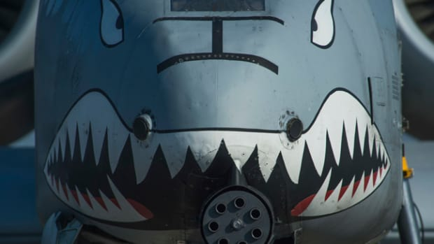 The nose of a U.S. Air Force A-10 Thunderbolt II displays a painted set of eyes and teeth over the aircraft's 30mm GAU-8 Avenger rotary cannon during the 74th Expeditionary Fighter Squadron's deployment in support of Operation Atlantic Resolve at Graf Ignatievo, Bulgaria, March 18, 2016. The painting dates back throughout aviation history, where some cultures believed the paint intimidated opponents or warded off evil spirits aimed at disrupting the flight. (U.S. Air Force photo by Staff Sgt. Joe W. McFadden/Released)