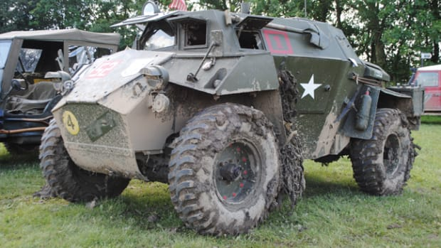 This mud-spattered Humber Scout Car shows the owner enjoys driving it in the same way units operated their vehicles during WWII.