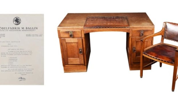 https://www.liveauctioneers.com/item/58862782_1929-adolf-hitler-s-personal-desk-and-chair Adolf Hitler's custom-made oak and leather desk and chair from his Munich residence, a 1929 gift from Mrs. Elsa Bruckmann (nee Princess Cantacuzene of Romania) Accompanied by manufacturer's hand-signed letter to Hitler advising him of the furniture's completion. Provenance: Hermann Historica 2003.