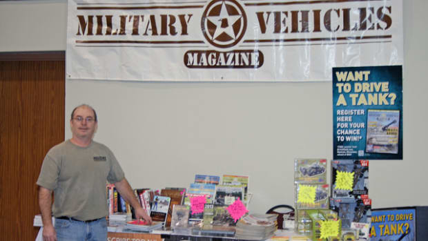 "Our humble display at Military History Fest with Military Trader and Military Vehicles Magazine's very own, ""man-on-point,"" Nick Ockwig, spreading the good word about our hobby."