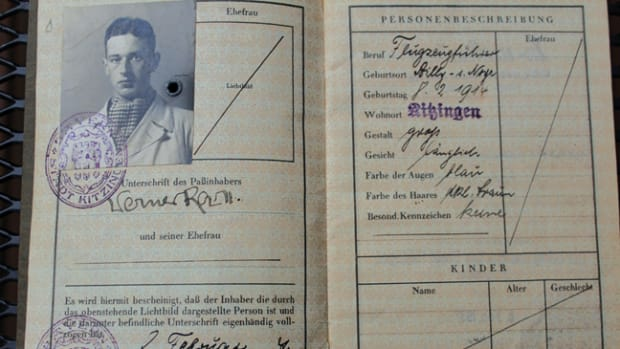 "I bought this at a gun show many years ago — just another ""Reisepass."" Like most German personal identity documents, a Reisepass contained a photo and signature of the holder — in this case, Werner Roell and dated in February 1937"