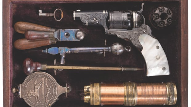 LOT1093-Highly Documented, Cased, and Earliest Known Factory Engraved Colt Pocket Model Paterson Revolver No. 1 (Baby Paterson) with Accessories