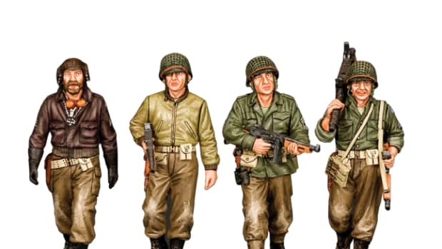 """Gang of Heroes"" a four figure set representing a group of WWII soldiers on the hunt for a bank full of gold bullion."