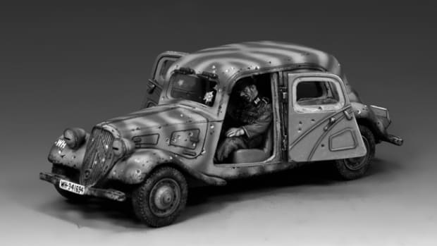 "King & Country's 1/30 scale Citroën Traction Avants is part of the ""Arnhem Ambush"" set (WH044)"