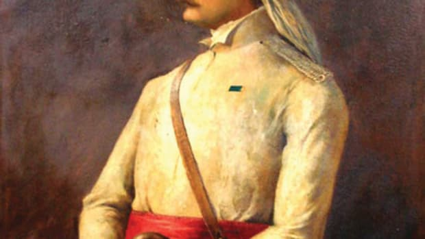 A painting of Brevet Major William Stephen Raikes Hodson depicted wearing an air tube-style helmet. By the time of the Indian Mutiny, this style of helmet — the predecessor of the sun / pith helmet — appeared on the battlefield. Hodson raised the irregular light cavalry unit, 4th Horse (Hodson's Horse) to put down the Indian Rebellion of 1857. The unit still exists today as the 4th Horse Regiment in the Indian Army.