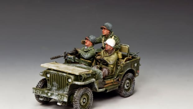 King & Country has produced a new Jeep with three American soldiers, on a reconnaissance patrol where they've just heard something… Is it the distinctive rumble of a German Tiger? The set includes the driver, a soldier manning a .30 caliber machine gun, and a passenger with his trusty M1 Garand seated in the rear. The whole vehicle is crusted with ice and snow and has seen hard use; the fold-down windshield of the Jeep has been covered with canvas to keep the patrol from being spotted due to an errant glint of light off the glass. This set is priced at $199, and is sure to be popular with avid and casual collectors alike.