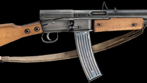 "A Gustloff Volkssturmgewehr (""VG1- 5"") self-loader had an estimate of 8,500 euros. The bidding quickly jumped and closed at 19,500 euros."