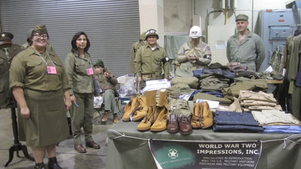 WWII Impressions, INC., was the the one-stop shop for reenactors. They offered a variety of reproduction uniforms as well as gave visitors their personal attention and expertise to put together their WWII ensembles.