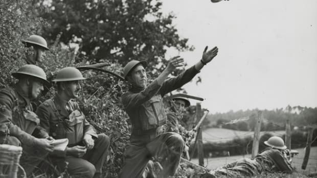 Prior to WWII, pigeons had delivered messages for military forces for centuries. These Canadian soldiers are training with a homing pigeon prior to taking part in the Normandy invasion. Argus Newspaper Collection of Photographs, State Library of Victoria