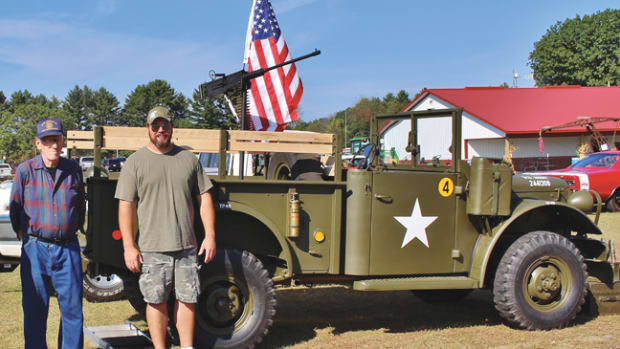 "(ABOVE) Harold Wohlfert converted the M37 into the local fire department's ""Brush Buggy"" in his pole barn back in the early 1970s. He had not seen the truck in more than 30 years when I caught up with him at a local show. He had several stories to share about the build. He was happy to see it all fixed up and back on the road again."