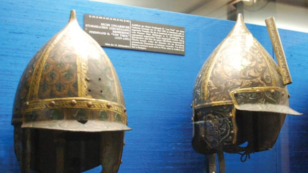 "Pointed helmets – if not exactly ""spiked helmets"" were widely used in Central Europe in the late Middle Ages. These are two helmets that are of Hungarian origin from the 16th century and are in the Neue Burg Museum in Vienna (Photo by the Author)."
