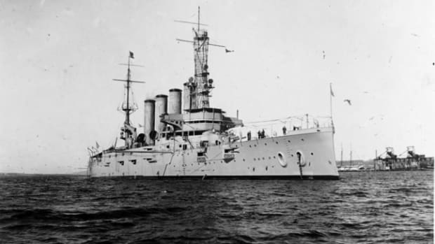 USS San Diego (Armored Cruiser No. 6) photographed Jan. 28, 1915, while serving as flagship of the Pacific Fleet. U.S. Navy Photo courtesy of Naval History and Heritage Command.