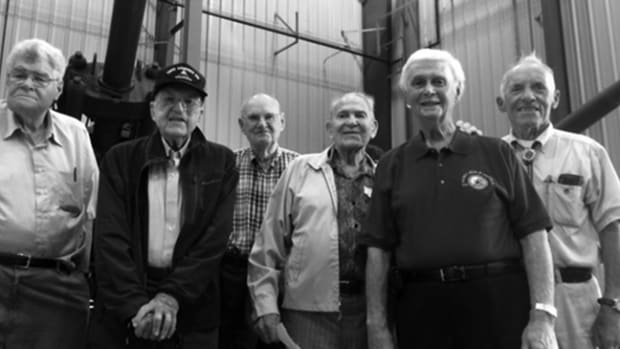 Battle of the Bulge veterans on a 2015 tour of Picatinny Arsenal, included Jim Cullen (second from the left) along with Dick Moran, Marty Rosenbaum, John Marshall, Al Sussarman and Ken Shuetz. Photo by Reggie Mays, courtesy of the US Army