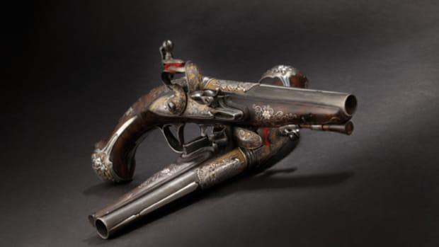 Lot 4695: A pair of deluxe flintlock pistols from the armoury of Tsarina Elisabeth Petrovna, Petersburg, circa 1760. Starting Price: 60000 Euros