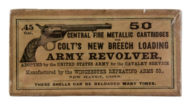 Winchester picture box holding .45-caliber center-fire metallic cartridges for Colt 1873 single-action Army Revolver, $9,600
