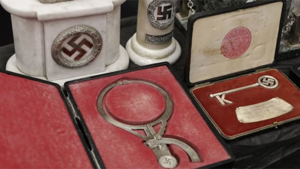 Some of the relics seized from a private collection in Argentina included several pieces of Third Reich decorative arts material, all adorned with swastikas.