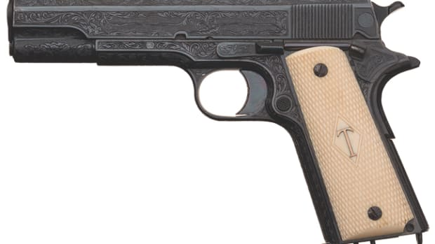 (From our Winter 2018 auction) Iconic Presentation Special Factory Order William Gough Master Exhibition Engraved and Gold Inlaid Colt Government Model Semi-Automatic Pistol Single Digit Serial Number C5 Presented by Colt Agent Albert Foster, Jr. to His Attorney, James Bowen Sold $241,500