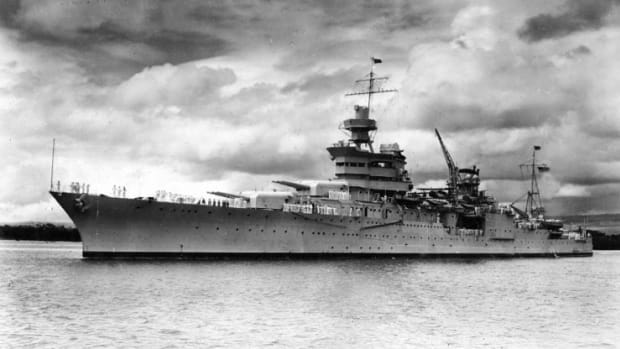 USS Indianapolis (CA-35) at Pearl Harbor, circa 1937. (U.S. Naval Historical Center Photo)
