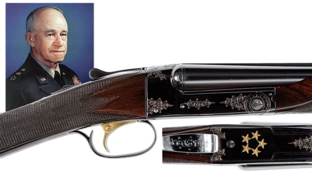 Historically Important 20 Gauge Winchester Model 21 Factory Custom Finished and Gold Inlaid Shotgun Presented to Five Star General and First Chairman of the Joint Chiefs of Staff Omar N. Bradley
