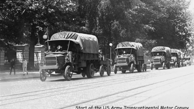 Historic photo at the start of the Second US Army Transcontinental Motor Convoy (TMC) from Washington DC to San Diego in the Summer of 1920 along the Bankhead Highway across the southern US (the First TMC followed the Lincoln Highway in 1919).