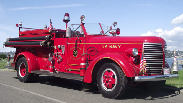 """American LaFrance 600-series trucks were the last """"conventionals"""" ALF made. The long hood covered the dual-ignition Lycoming-derived engine V12 gas engine, displacing 491 cid and putting out 190 horsepower, which was very respectable for 1941."""