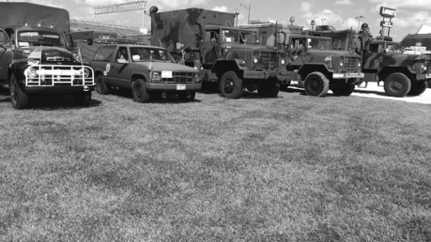 Many towns, American Legions, VFWs, and schools welcomed us along the route. We often reciprocated their kindnesses with a public display of our vehicles.
