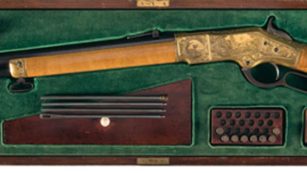 "Stunning, Documented Factory Panel Scene Engraved, Gold Plated, Maple Stocked and Cased Winchester Deluxe Model 1866 Factory ""On The Rocky Mountains"" Display Lever Action Rifle"