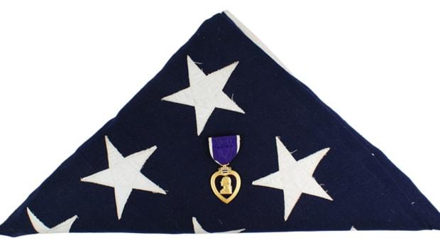 "Purple Heart awarded to Cpl. Joseph E. Oleskiewicz – a member of the ""Filthy Thirteen"" in World War II ($5,100)."