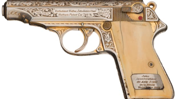 Engraved Walther PP Gold Plated Nazi Presentation Semi Automatic Pistol with Leather Holster and Spare Magazine