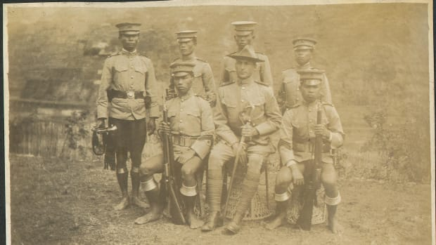 When future U.S. President William Taft established the Philippine Constabulary in 1901, he set forth an organization that would be regarded as an elite prestigious organization to maintain law and order in the Philippine Islands. From its onset, the Constabulary members wore a variety of unique uniforms and accouterments, some of which are visible in this photo of Owen A. Tomlinson and members of the 4th Mountain (Ifugao) Company, Philippine Constabulary. Owen A. Tomlinson papers, Bentley Historical Library, University of Michigan