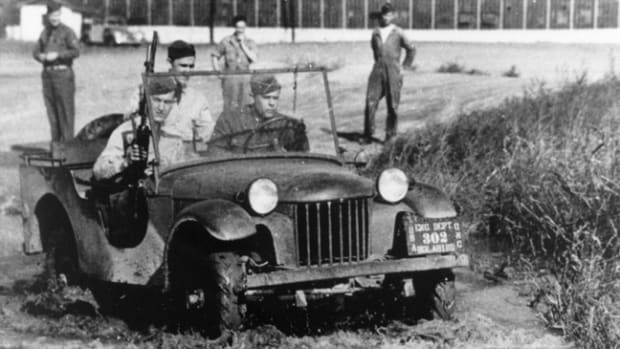 "The first 1/4 ton, four-wheel drive reconnaissance truck ""pilot model"" produced for the U.S. Army was built by the American Bantam Car Company of Butler, Pa. It was delivered for testing to Camp Holabird in Baltimore on Sept. 23, 1940. Subsequent designs by Willys-Overland and Ford while important were refinements on this original U.S. Army and American Bantam concept. (PRNewsFoto/Historic Vehicle Association)"