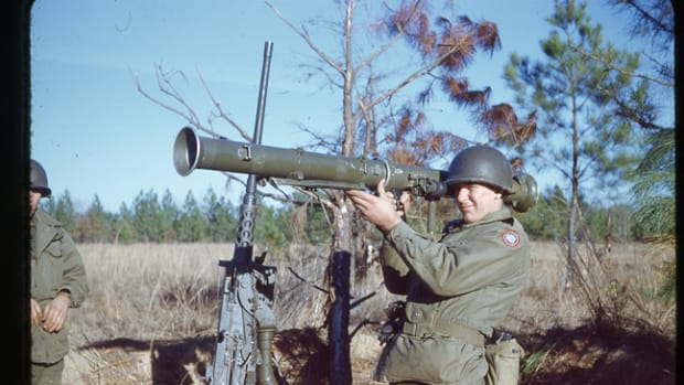 "Trainee shouldering an M20 ""Super Bazooka"" at Camp Rucker, Ala., 1951. While a variety of heavy weapons like bazookas, rocket-propelled grenades, and mortars were common infantry weapons, the legality of owning them today is a question that needs to be answered before making the acquisition. John Adams-Graf Collection"