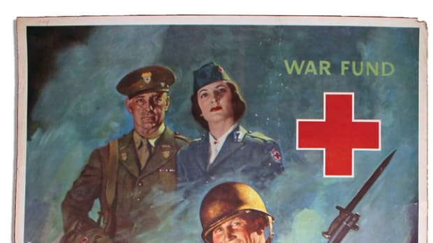 The American Red Cross actually began its aid work before the United States entered into WWII. At the request of the U.S. government, the Red Cross set up a Blood Donor Service for the armed forces. By the end of the War, more than 40,000 employees of the Red Cross directed the efforts of 7.5 million civilian volunteers, serving the Armed Forces both overseas and at home. 1945 Red Cross poster by Jes Schlaikjer