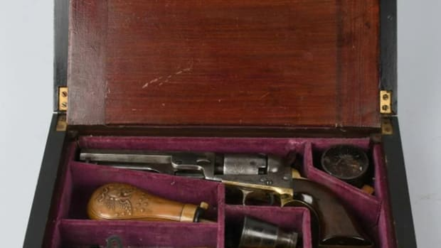 Confederate General Sterling Price's Model 1849 .31 caliber Colt pocket model and lap desk, with accessories. Manufactured in 1860.