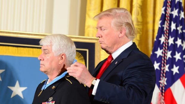 President Donald J. Trump hosts the Medal of Honor ceremony for former U.S. Army Spc. 5 James C McCloughan at the Whitel House in Washington, D.C., July 31, 2017. McCloughan was awarded the Medal of Honor for distinguished actions as a combat medic assigned to Company C, 3rd Battlalion, 21st Infantry Regiment, 196th Infantry Brigade, Americal Division, during the Vietnam War near Don Que, Vietnam, from May 13-15, 1969. (U.S. Army photo by Eboni Everson-Myart)
