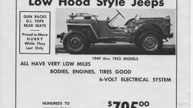 "Not a ""Jeep in a crate,"" but still a really good bargain— Back in 1962, this ad in Four Wheeler Magazine offered ""low hood style Jeeps for $795."