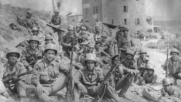Brazilian soldiers from the 5th Company, 6th Infantry Regiment at Montese, Italy, April 1945. The Força Expedicionária Brasileira (Brazilian Expeditionary Force or FEB) was comprised of three infantry regiments and distinguished itself fighting in the Italian theater. Brazilian National Agency