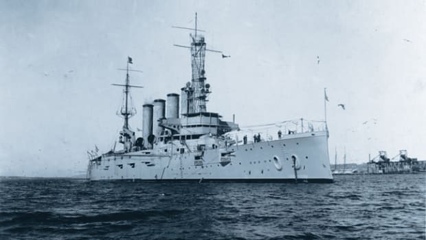 USS San Diego (Armored Cruiser No. 6) photographed Jan. 28, 1915, while serving as flagship of the Pacific Fleet. U.S. Navy Photo courtesy of Naval History and Heritage Command
