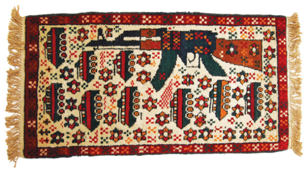 After the Soviet Union invaded Afghanistan, enterprising weavers produced rugs with a variety of military themes. There are tales that the prayer rugs often featured some images – including armored vehicles — as a way to help Mujahideen fighters identify enemy convoys and vehicles, though this has not be substantiated.
