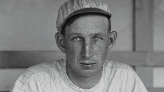 Eddie Grant, seen here in a New York Giants uniform, was the first, and most prominent, former Major League ballplayer to be killed in action during the war. Grant had already retired from baseball and was working as a lawyer when war was declared. Courtesy Library of Congress